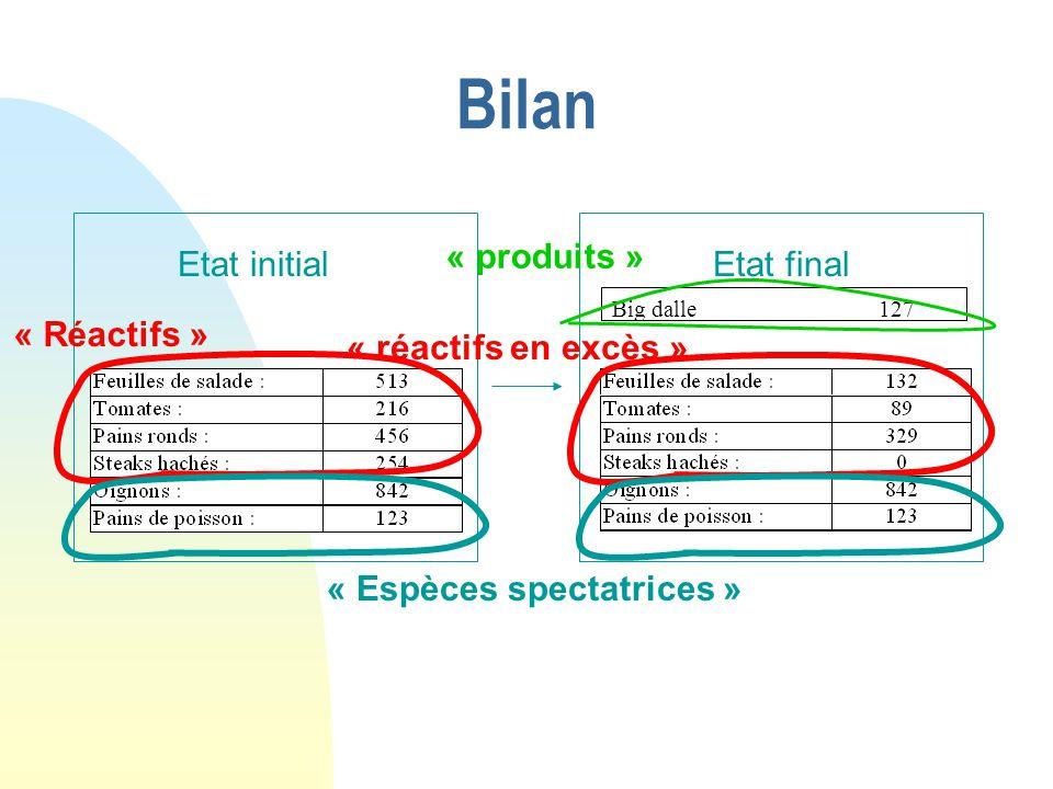 Bilan Etat initialEtat final « Réactifs » « réactifs en excès » « Espèces spectatrices » Big dalle 127 « produits »