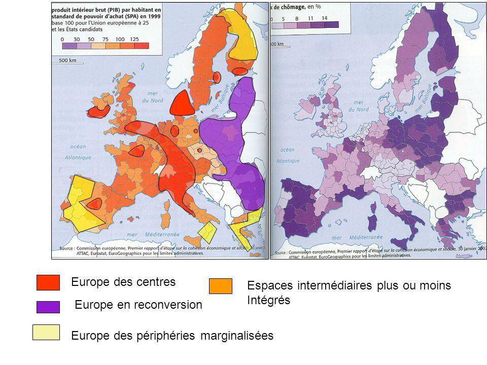 Europe des centres Europe en reconversion Espaces intermédiaires plus ou moins Intégrés Europe des périphéries marginalisées