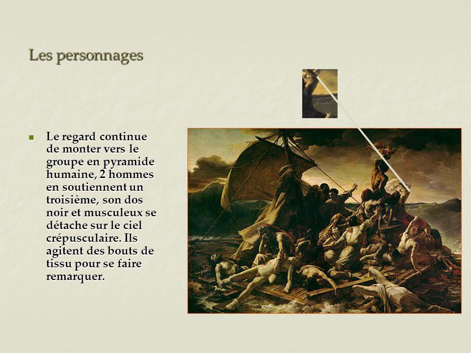 Les personnages Le regard continue de monter vers le groupe en pyramide humaine, 2 hommes en soutiennent un troisième, son dos noir et musculeux se dé