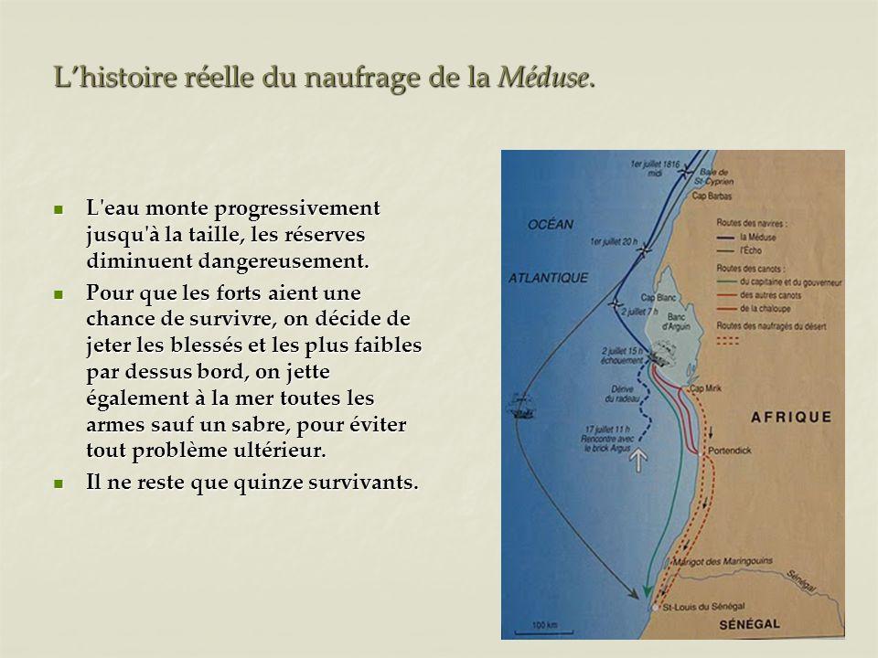 Lhistoire réelle du naufrage de la Méduse. L'eau monte progressivement jusqu'à la taille, les réserves diminuent dangereusement. L'eau monte progressi