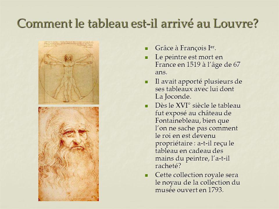 Comment le tableau est-il arrivé au Louvre.Grâce à François I er.