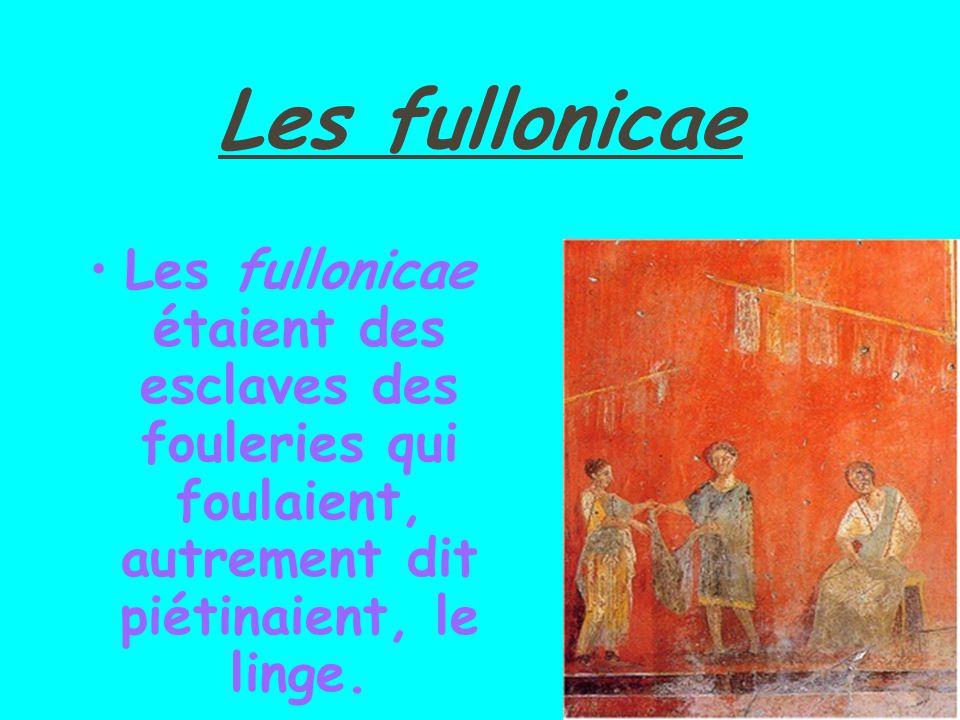Les fullonicae Les fullonicae étaient des esclaves des fouleries qui foulaient, autrement dit piétinaient, le linge.