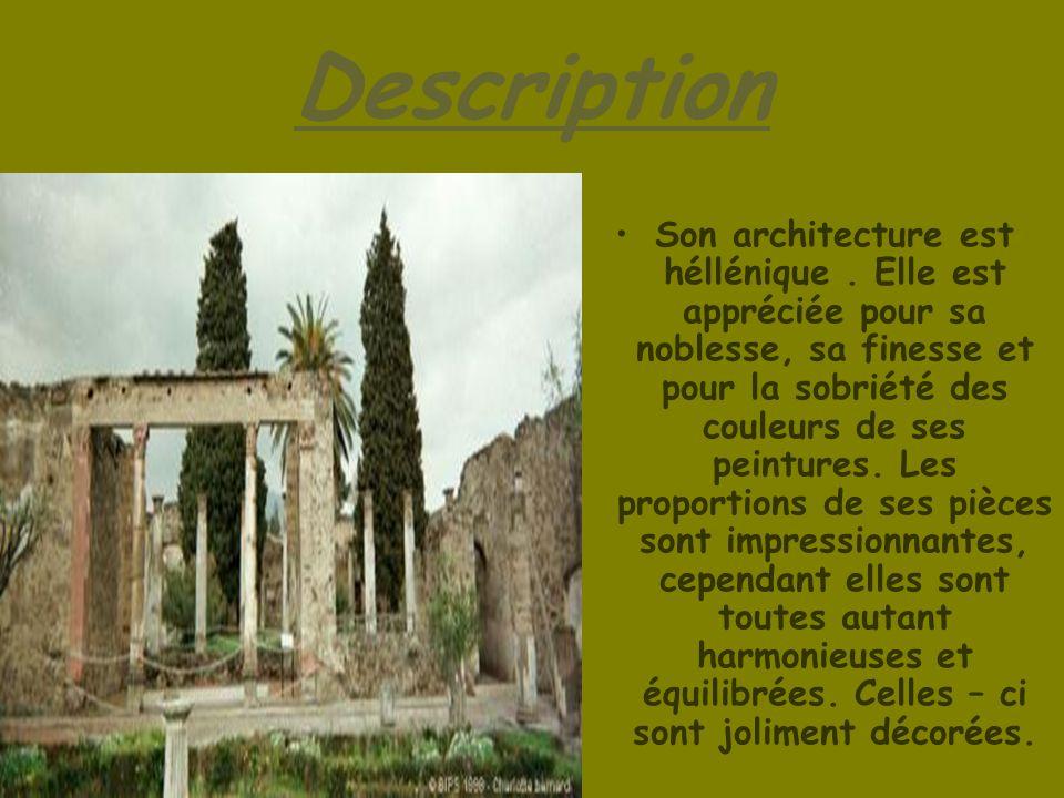 Description Son architecture est héllénique. Elle est appréciée pour sa noblesse, sa finesse et pour la sobriété des couleurs de ses peintures. Les pr