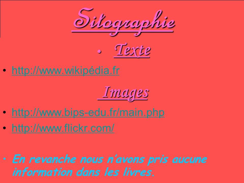 Sitographie Texte Texte http://www.wikipédia.fr Images Images http://www.bips-edu.fr/main.php http://www.flickr.com/ En revanche nous navons pris aucu