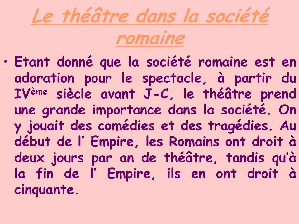 Le théâtre dans la société romaine Etant donné que la société romaine est en adoration pour le spectacle, à partir du IV ème siècle avant J-C, le théâ