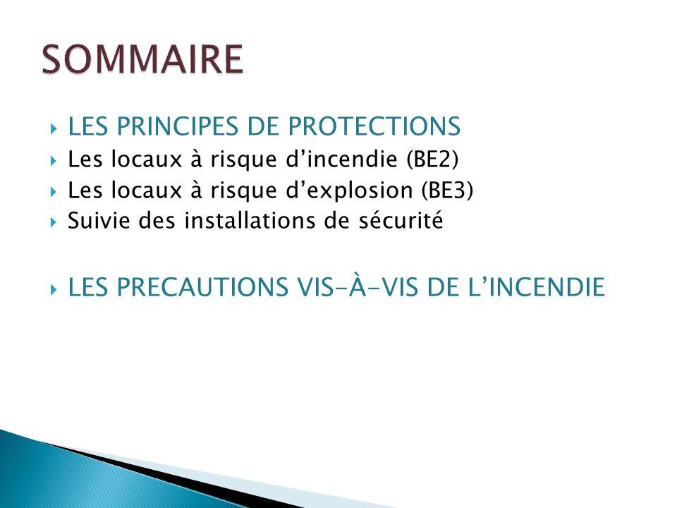 LES PRINCIPES DE PROTECTIONS Les locaux à risque dincendie (BE2) Les locaux à risque dexplosion (BE3) Suivie des installations de sécurité LES PRECAUT