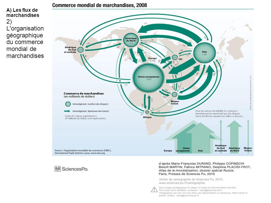 A) Les flux de marchandises 2) L'organisation géographique du commerce mondial de marchandises