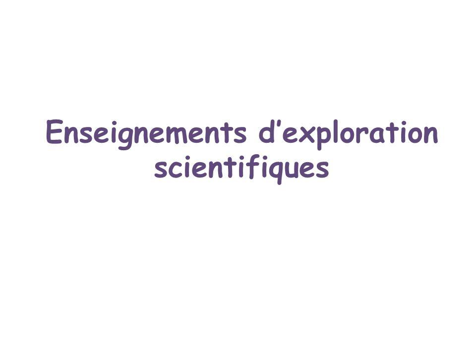 Enseignements dexploration scientifiques