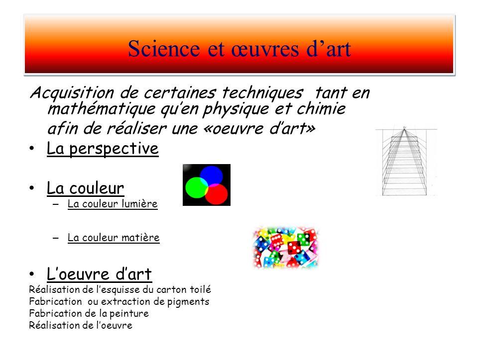 Acquisition de certaines techniques tant en mathématique quen physique et chimie afin de réaliser une «oeuvre dart» La perspective La couleur – La cou