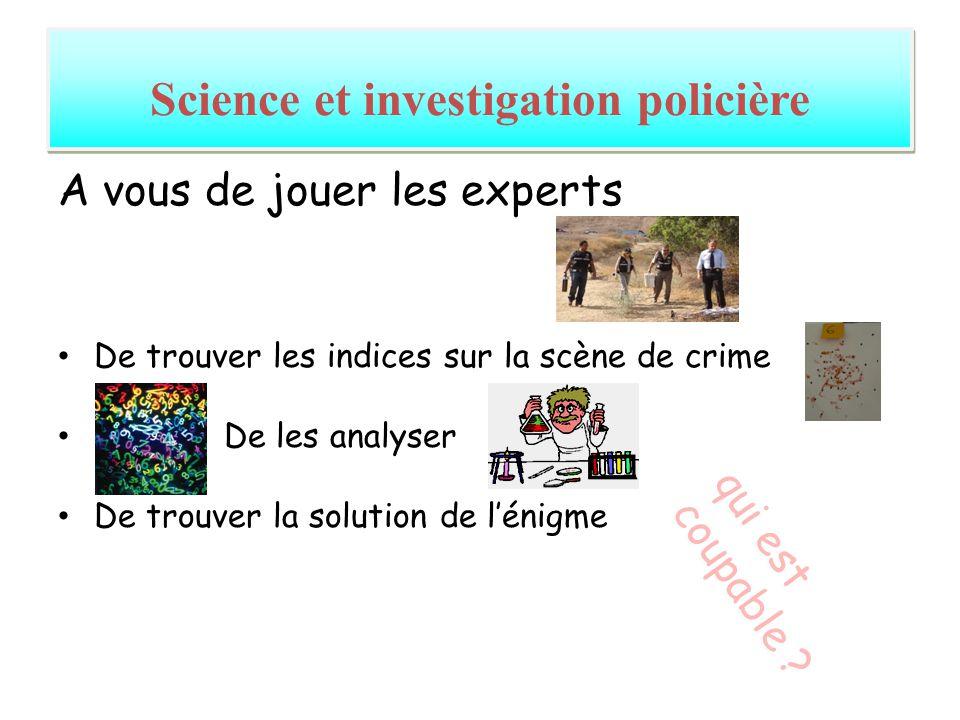 A vous de jouer les experts De trouver les indices sur la scène de crime De les analyser De trouver la solution de lénigme Science et investigation po