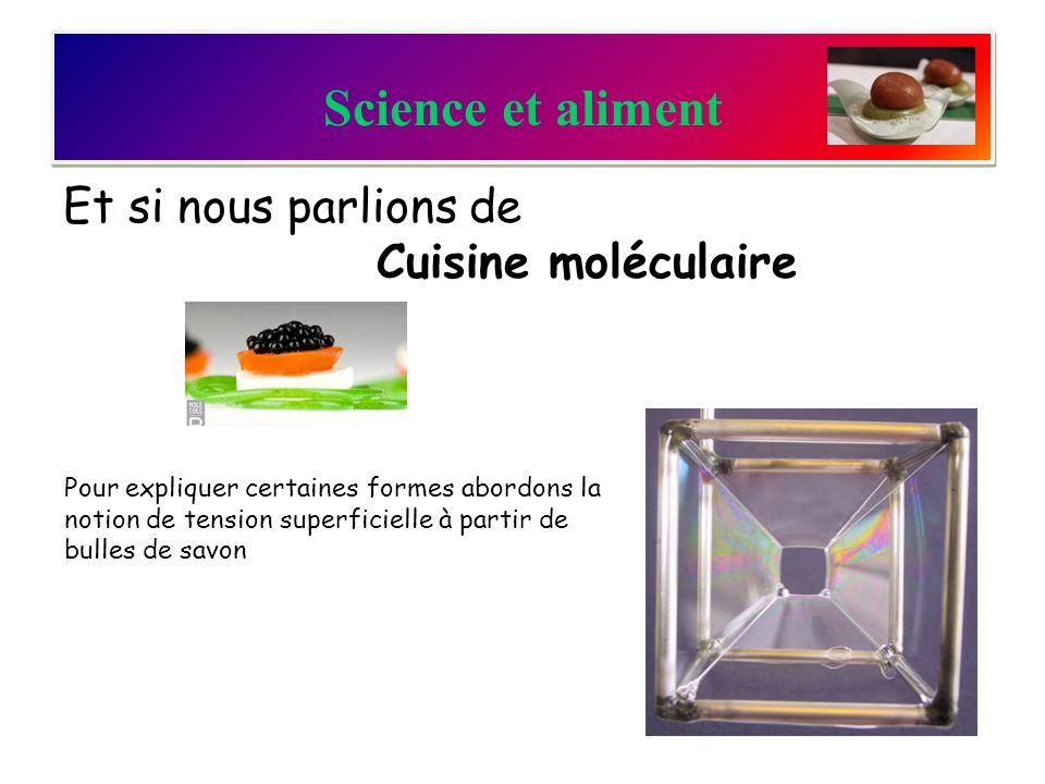 Et si nous parlions de Cuisine moléculaire Science et aliment Pour expliquer certaines formes abordons la notion de tension superficielle à partir de