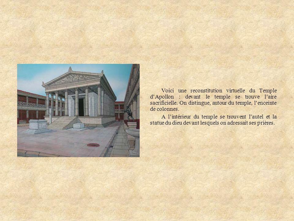Voici une reconstitution virtuelle du Temple dApollon : devant le temple se trouve laire sacrificielle. On distingue, autour du temple, lenceinte de c