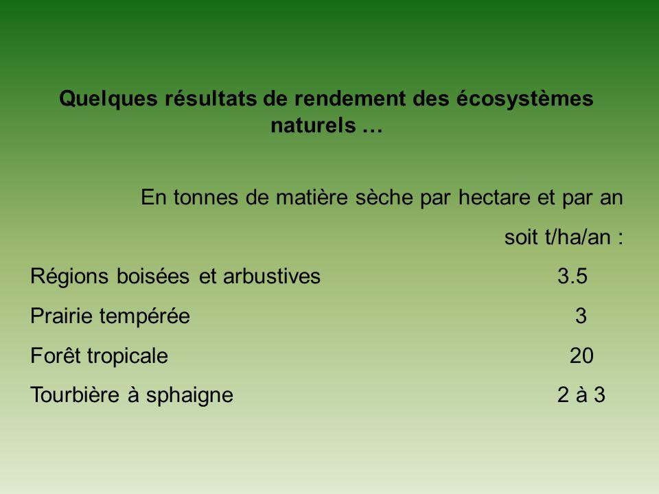 Quelques résultats de rendement des écosystèmes naturels … En tonnes de matière sèche par hectare et par an soit t/ha/an : Régions boisées et arbustives3.5 Prairie tempérée 3 Forêt tropicale 20 Tourbière à sphaigne2 à 3