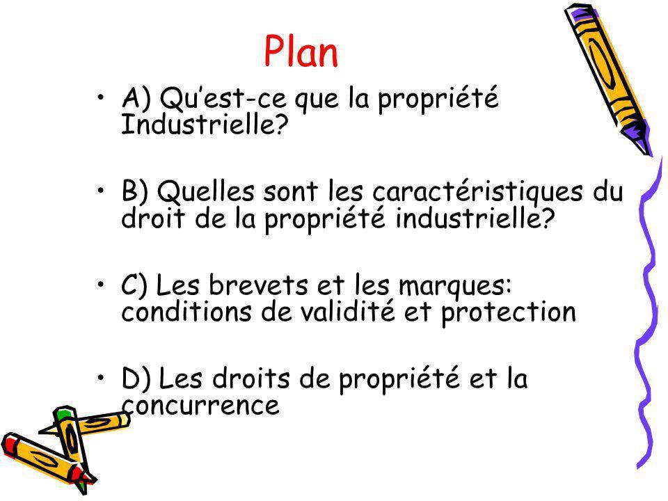 Plan A) Quest-ce que la propriété Industrielle? B) Quelles sont les caractéristiques du droit de la propriété industrielle? C) Les brevets et les marq