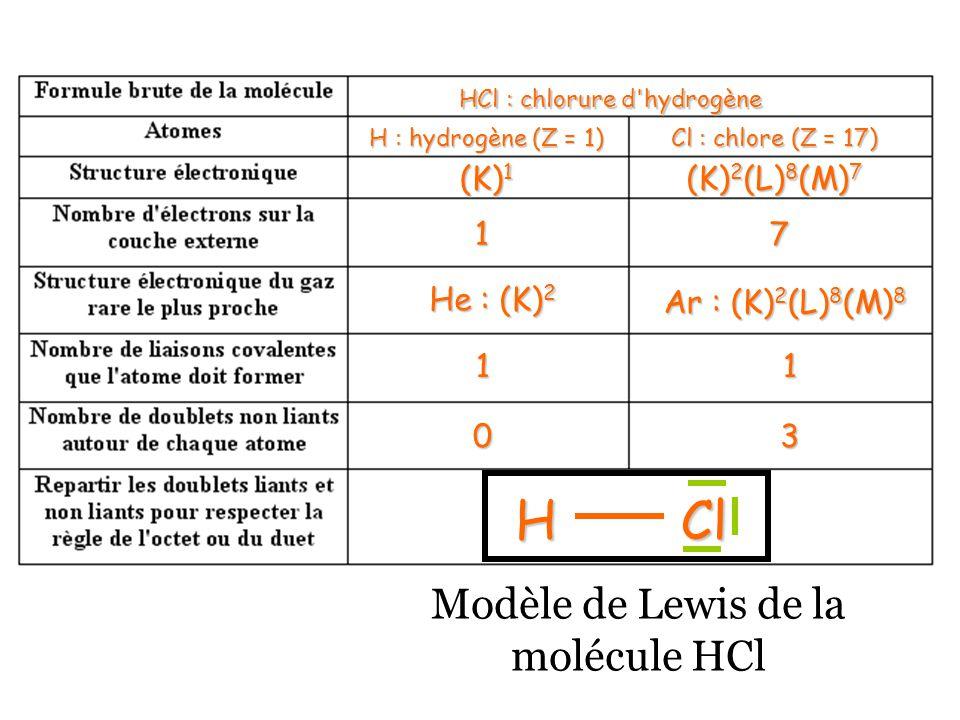 HCl : chlorure d hydrogène H : hydrogène(Z = 1) H : hydrogène (Z = 1) Cl : chlore (Z = 17) (K) 1 (K) 2 (L) 8 (M) 7 17 He : (K) 2 Ar : (K) 2 (L) 8 (M) 8 11 03 HCl Modèle de Lewis de la molécule HCl