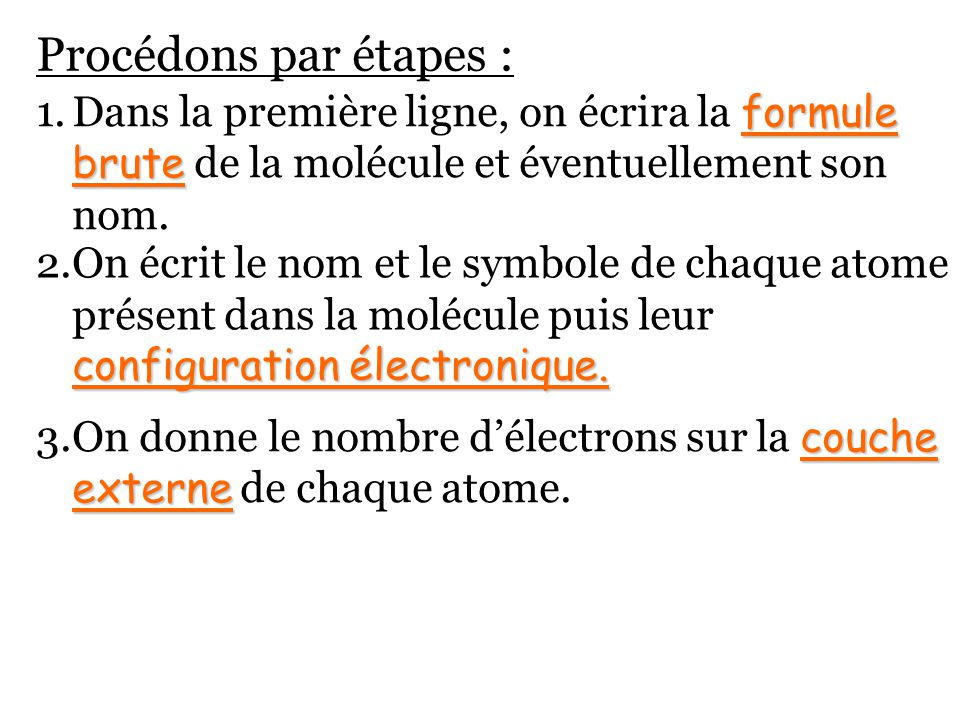 Procédons par étapes : formule brute 1.Dans la première ligne, on écrira la formule brute de la molécule et éventuellement son nom. configuration élec