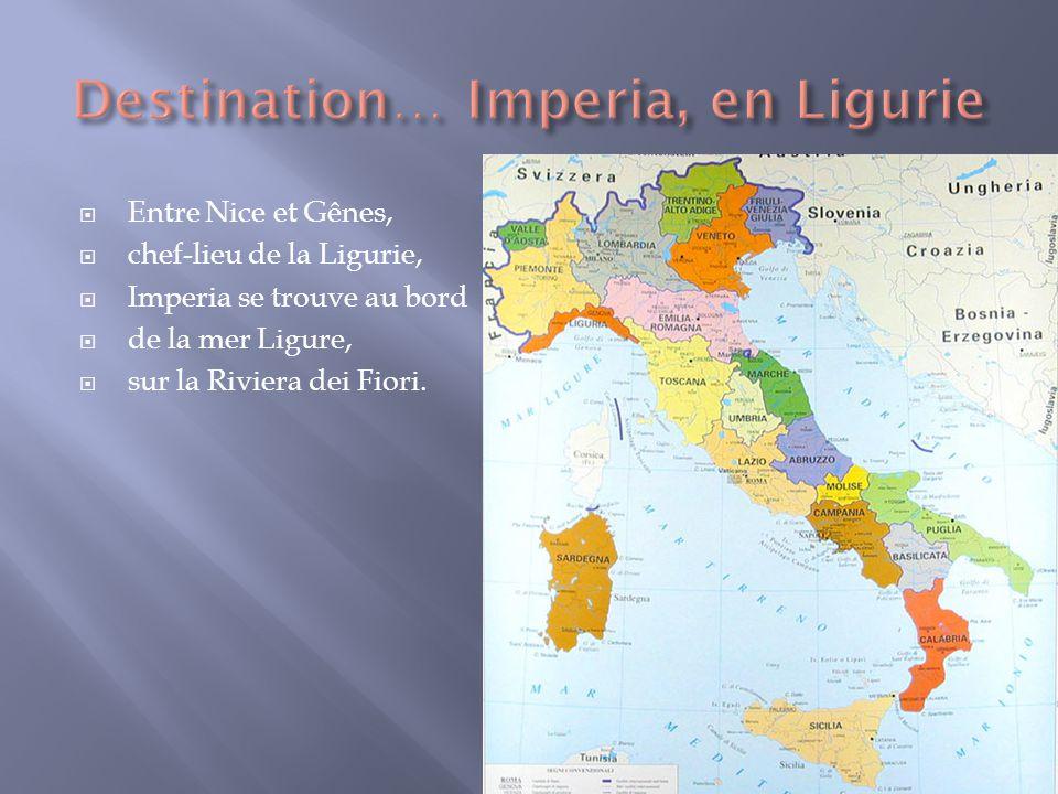 Entre Nice et Gênes, chef-lieu de la Ligurie, Imperia se trouve au bord de la mer Ligure, sur la Riviera dei Fiori.
