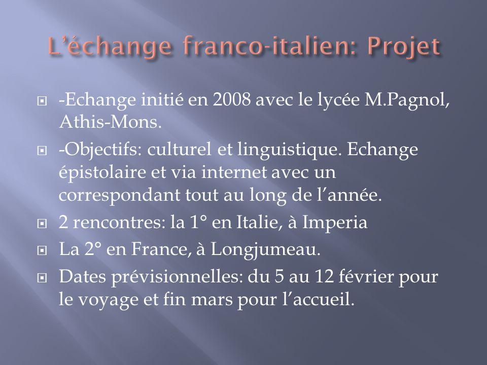 -Echange initié en 2008 avec le lycée M.Pagnol, Athis-Mons. -Objectifs: culturel et linguistique. Echange épistolaire et via internet avec un correspo