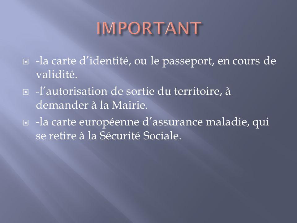 -la carte didentité, ou le passeport, en cours de validité. -lautorisation de sortie du territoire, à demander à la Mairie. -la carte européenne dassu