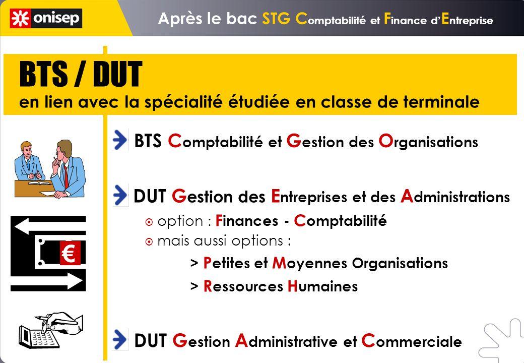 BTS / DUT en lien avec la spécialité étudiée en classe de terminale BTS C omptabilité et G estion des O rganisations option : F inances - C omptabilit