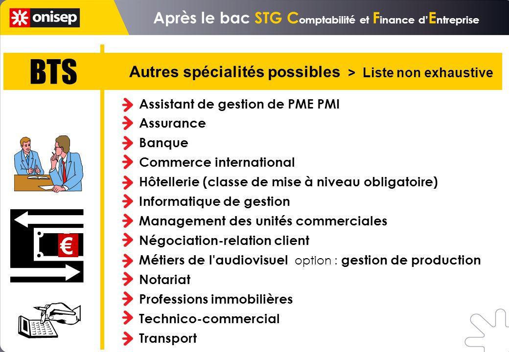 Après le bac STG C omptabilité et F inance d E ntreprise BTS Autres spécialités possibles > Liste non exhaustive Assistant de gestion de PME PMI Assur
