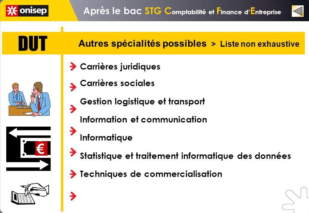 DUT Autres spécialités possibles > Liste non exhaustive Carrières juridiques Carrières sociales Gestion logistique et transport Information et communi