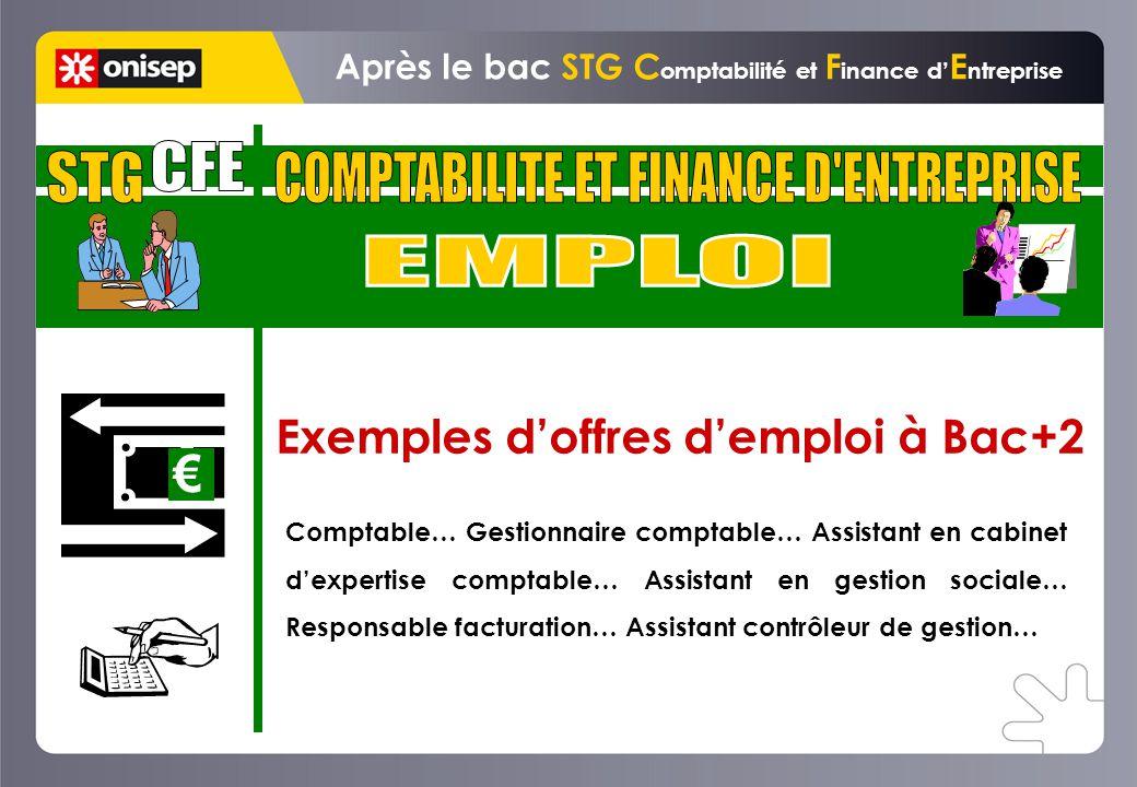 Exemples doffres demploi à Bac+2 Après le bac STG C omptabilité et F inance d E ntreprise Comptable… Gestionnaire comptable… Assistant en cabinet dexp
