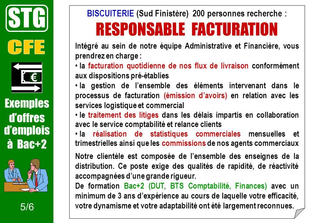BISCUITERIE (Sud Finistère) 200 personnes recherche : RESPONSABLE FACTURATION Intégré au sein de notre équipe Administrative et Financière, vous prend