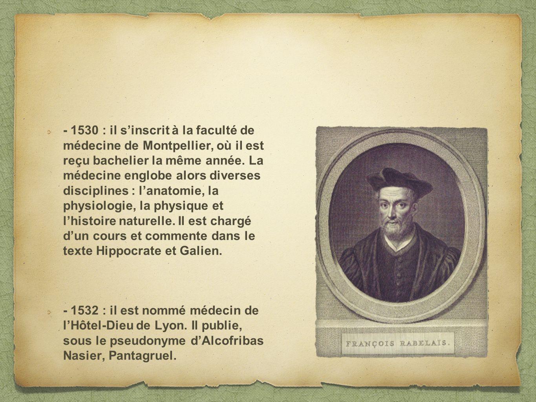 - 1530 : il sinscrit à la faculté de médecine de Montpellier, où il est reçu bachelier la même année. La médecine englobe alors diverses disciplines :