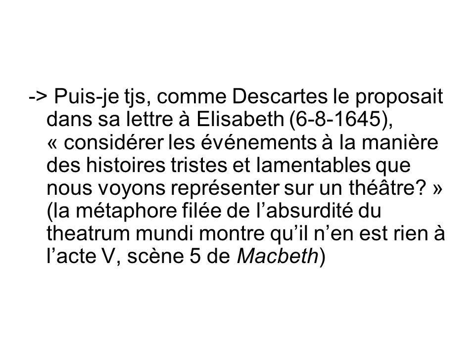 -> Puis-je tjs, comme Descartes le proposait dans sa lettre à Elisabeth (6-8-1645), « considérer les événements à la manière des histoires tristes et
