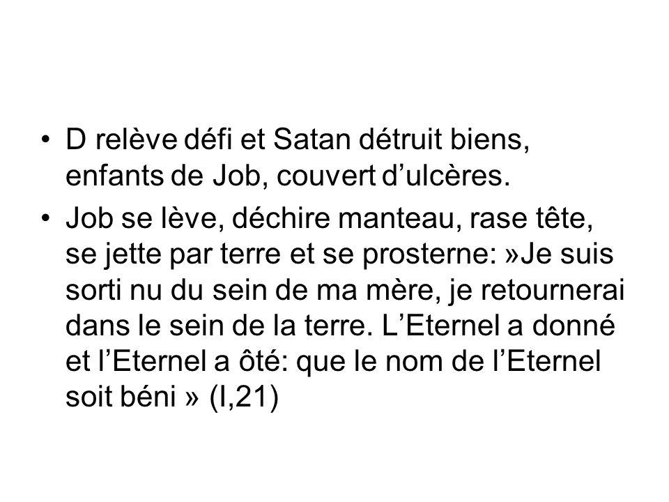 D relève défi et Satan détruit biens, enfants de Job, couvert dulcères. Job se lève, déchire manteau, rase tête, se jette par terre et se prosterne: »