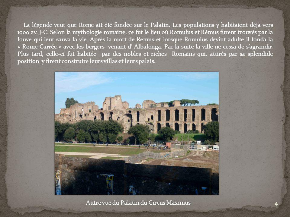 La légende veut que Rome ait été fondée sur le Palatin. Les populations y habitaient déjà vers 1000 av. J-C. Selon la mythologie romaine, ce fut le li
