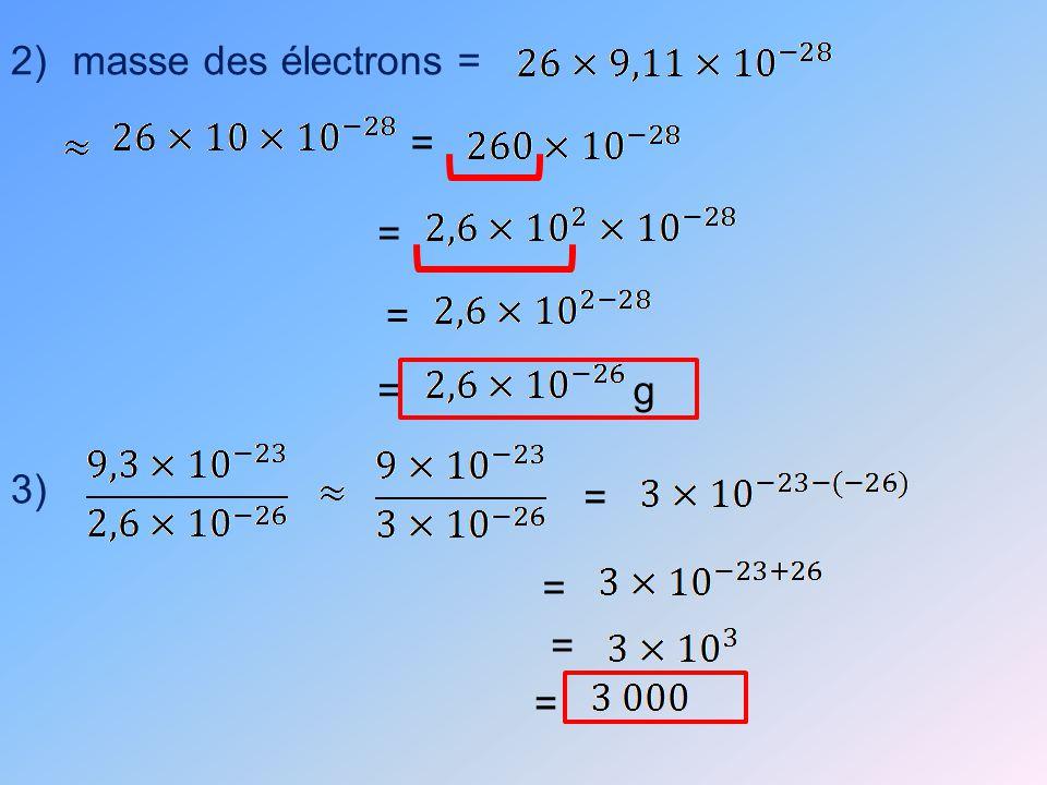 2)masse des électrons = = = = =g 3) = = = =