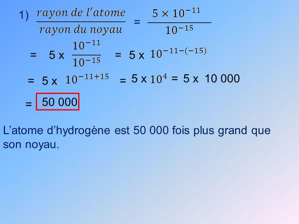 1) = =5 x= == = 10 000 = 50 000 5 x Latome dhydrogène est 50 000 fois plus grand que son noyau.