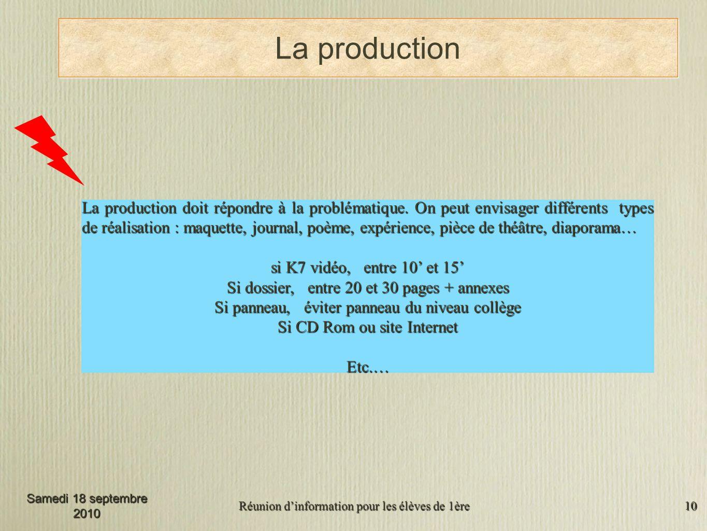 Réunion dinformation pour les élèves de 1ère 10 La production La production doit répondre à la problématique.