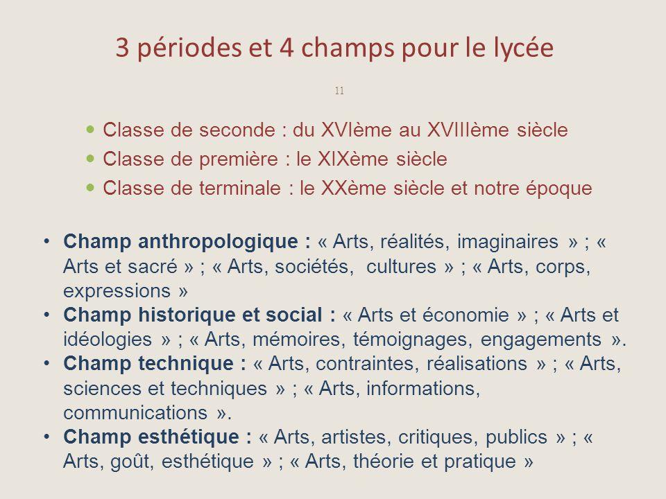3 périodes et 4 champs pour le lycée Classe de seconde : du XVIème au XVIIIème siècle Classe de première : le XIXème siècle Classe de terminale : le X