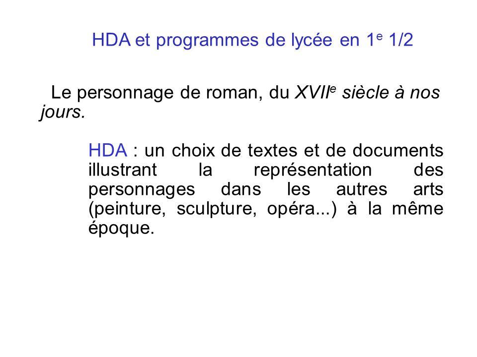 mo mobiles biles HDA et programmes de lycée en 1 e 1/2. Le personnage de roman, du XVII e siècle à nos jours. HDA : un choix de textes et de documents