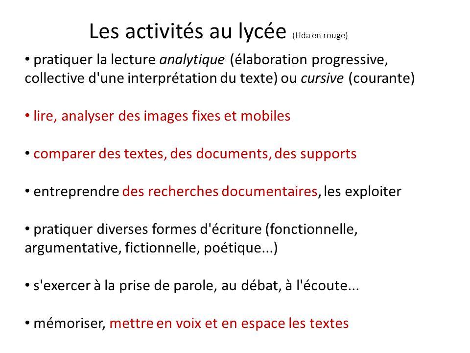Les activités au lycée (Hda en rouge) pratiquer la lecture analytique (élaboration progressive, collective d'une interprétation du texte) ou cursive (