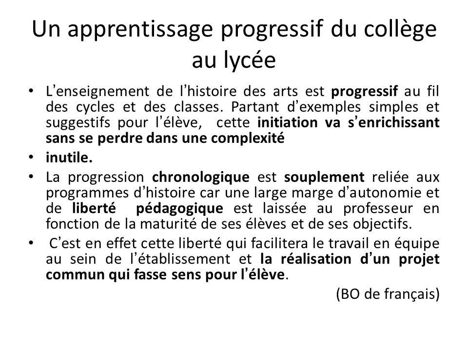 Un apprentissage progressif du collège au lycée Lenseignement de lhistoire des arts est progressif au fil des cycles et des classes. Partant dexemples