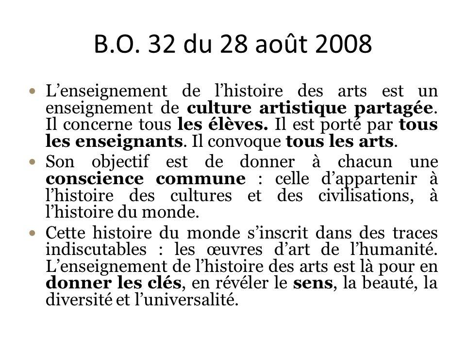 B.O. 32 du 28 août 2008 Lenseignement de lhistoire des arts est un enseignement de culture artistique partagée. Il concerne tous les élèves. Il est po