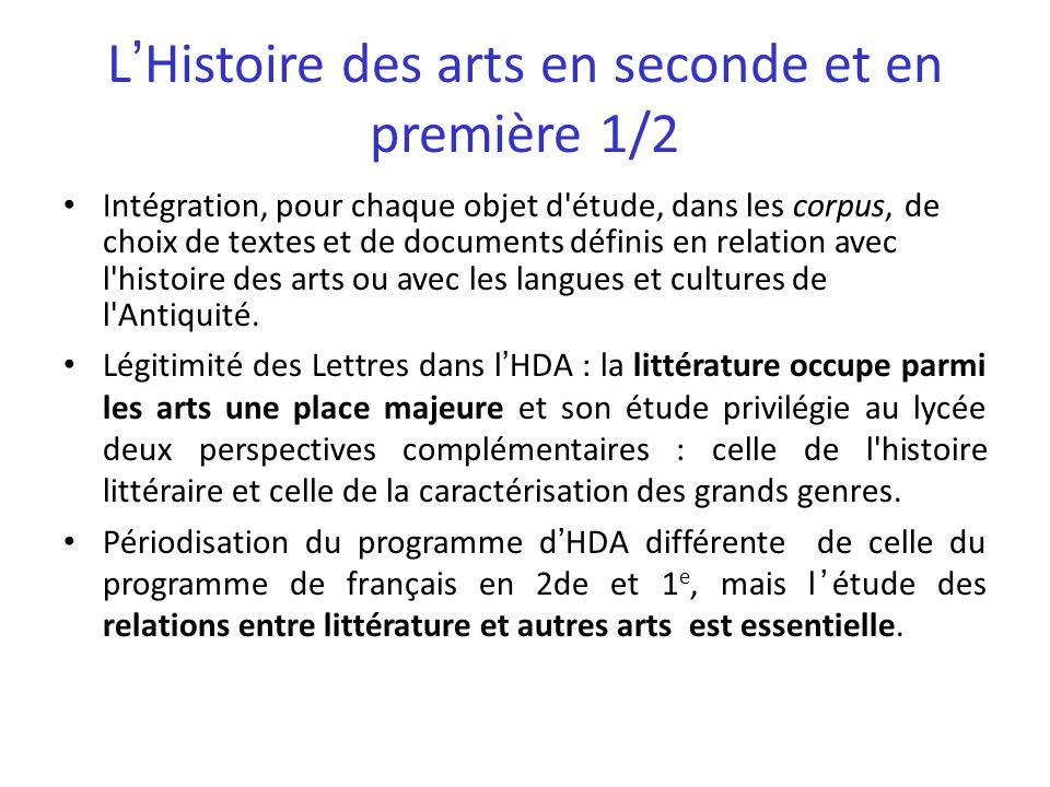 LHistoire des arts en seconde et en première 1/2 Intégration, pour chaque objet d'étude, dans les corpus, de choix de textes et de documents définis e
