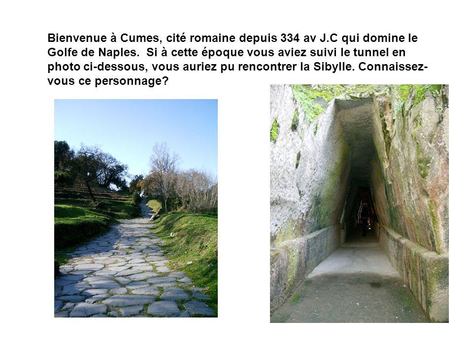 Bienvenue à Cumes, cité romaine depuis 334 av J.C qui domine le Golfe de Naples. Si à cette époque vous aviez suivi le tunnel en photo ci-dessous, vou