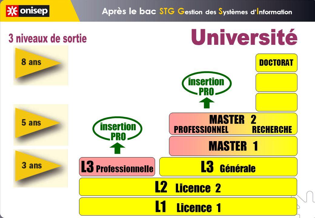 L1 Licence 1 L2 Licence 2 L3 Professionnelle L3 Générale MASTER 1 DOCTORAT insertion PRO insertion PRO MASTER 2 PROFESSIONNEL RECHERCHE Après le bac STG G estion des S ystèmes d I nformation