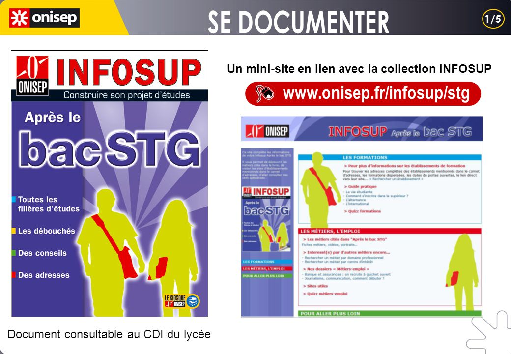 Un mini-site en lien avec la collection INFOSUP www.onisep.fr/infosup/stg Document consultable au CDI du lycée 1/5