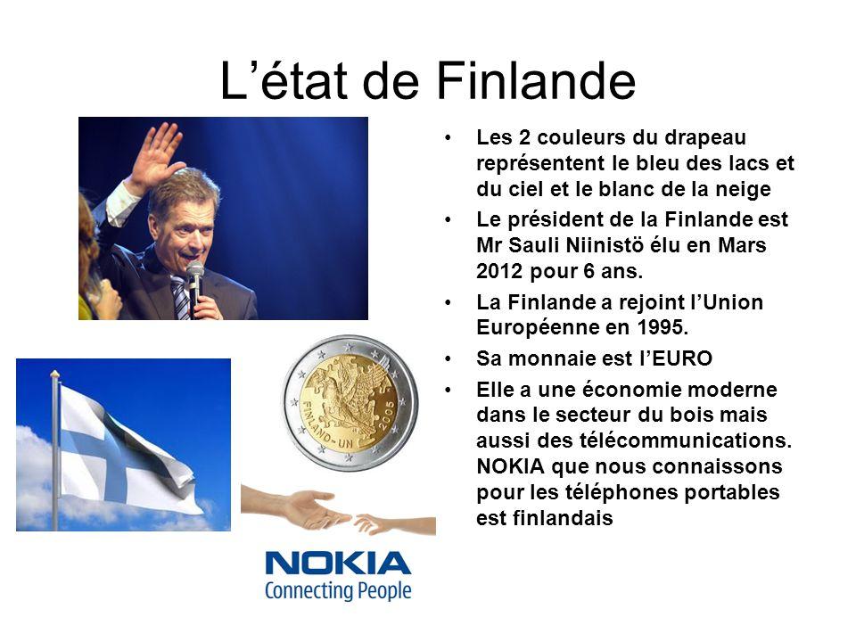 Létat de Finlande Les 2 couleurs du drapeau représentent le bleu des lacs et du ciel et le blanc de la neige Le président de la Finlande est Mr Sauli