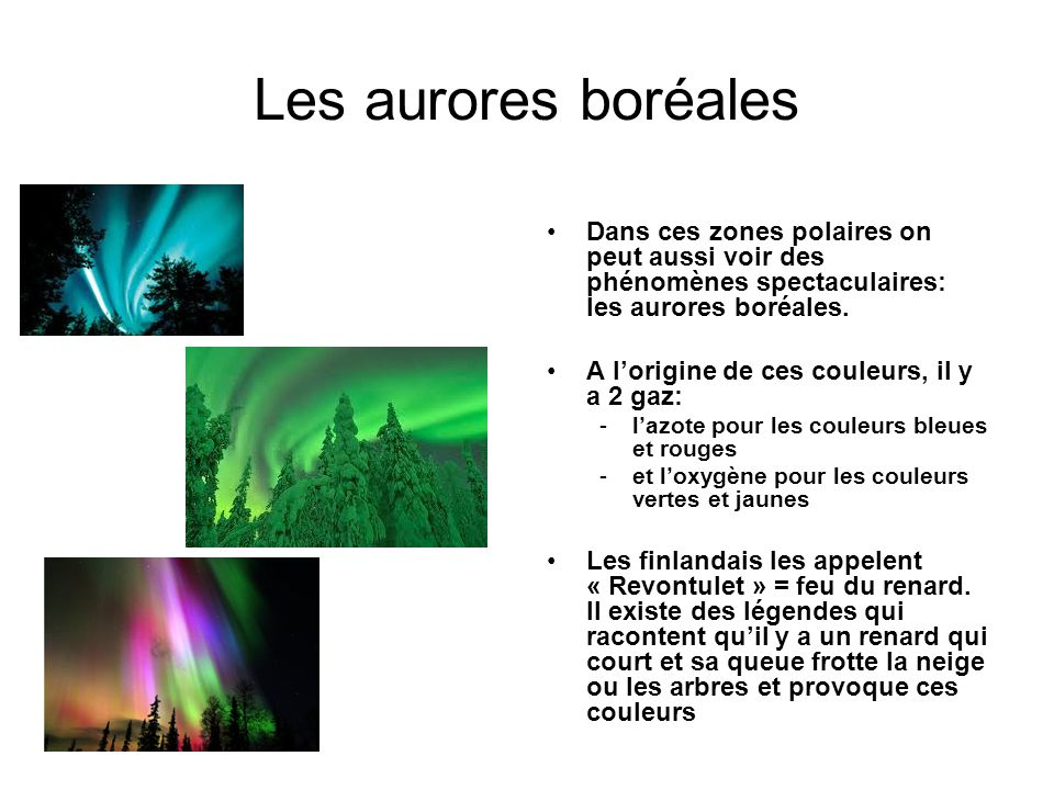 Les aurores boréales Dans ces zones polaires on peut aussi voir des phénomènes spectaculaires: les aurores boréales. A lorigine de ces couleurs, il y