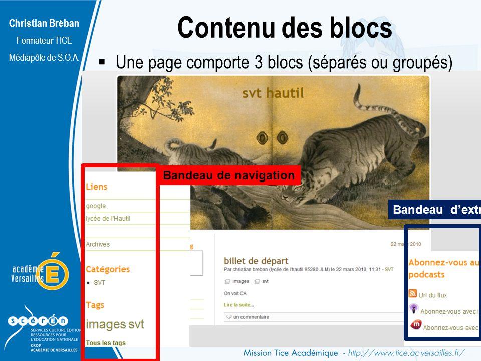 Christian Bréban Formateur TICE Médiapôle de S.O.A. Contenu des blocs Bandeau de navigation Bandeau dextra Une page comporte 3 blocs (séparés ou group