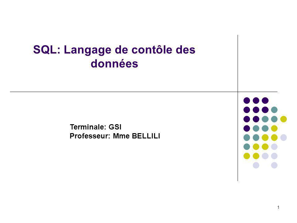 1 SQL: Langage de contôle des données Terminale: GSI Professeur: Mme BELLILI