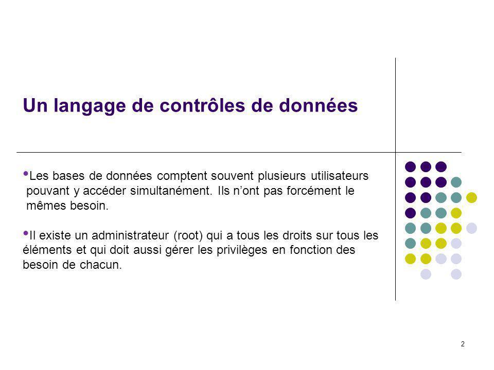 2 Un langage de contrôles de données Les bases de données comptent souvent plusieurs utilisateurs pouvant y accéder simultanément.