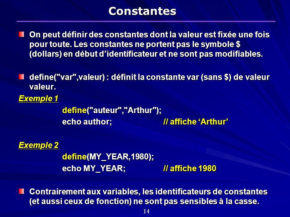 Constantes On peut définir des constantes dont la valeur est fixée une fois pour toute.